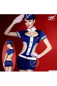 Комплект женский (платье, пилотка, перчатки, стринги, чулки, ремень) e8701